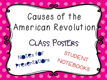 Causes of the American Revolution Class Posters, Teaching Slides, etc.
