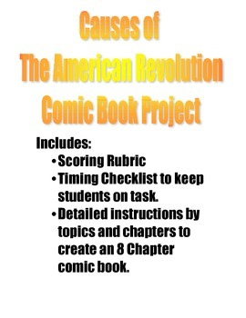 Causes of the American Revolution Comic Book Project