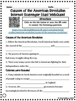 Causes of the American Revolution Internet Scavenger Hunt WebQuest