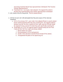 Causes of the American Revolution Political Cartoon Worksheet with Key