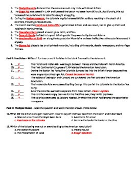 Causes of the American Revolution Quiz or Review Sheet