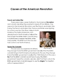 Causes of the American Revolution Reading Comprehension &