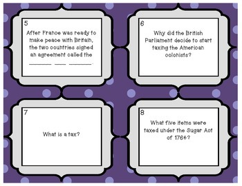 Causes of the American Revolution Review Task Cards - Set of 40