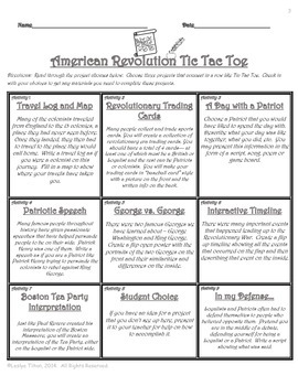 Causes of the American Revolution Tic Tac Toe
