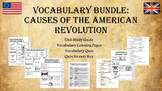 Causes of the American Revolution Vocabulary Pack