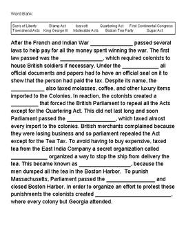 Causes of the American Revolution Vocabulary Quiz