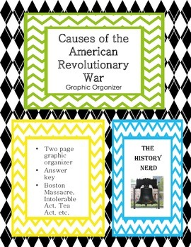 Causes of the American Revolutionary War Graphic Organizer