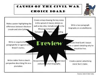 Causes of the Civil War Choice Board Social Studies Unit Project Activity Menu