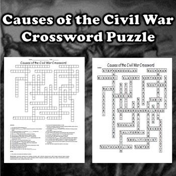 Causes of the Civil War Crossword