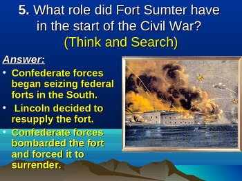 Causes of the Civil War: Fort Sumter/Reviewing the Key Facts Demo Power Point
