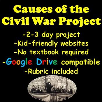 Causes of the Civil War Google Slides Timeline