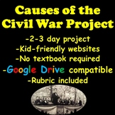 Causes of the Civil War Project | Distance Learning