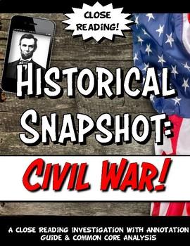 Causes of the Civil War Historical Snapshot Close Reading & Activity Set