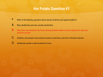 Causes of the Civil War Hot Potato Review Game