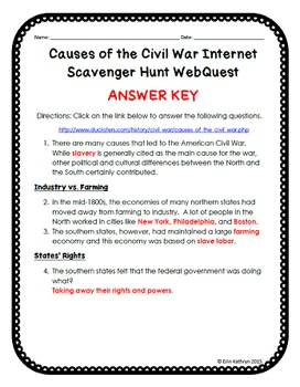civil war scavenger hunt This internet scavenger hunt webquest is a great way to include technology in your student's research the webquest guides the students to a website to find out all they need to know about.