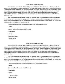 Causes of the Civil War Mini-Essay