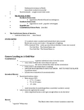 Causes of the Civil War Notes