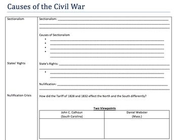 Causes of the Civil War Notes and Activities