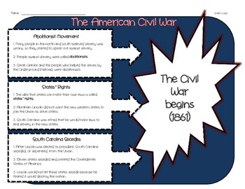 Causes of the Civil War Organizer