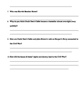 Causes of the Civil War Quiz
