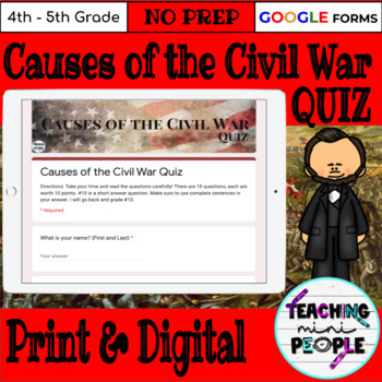 Causes of the Civil War Quiz (4th Grade)