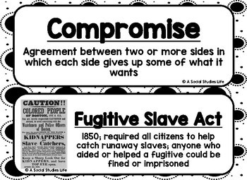 Causes of the Civil War Word Wall - Black and White