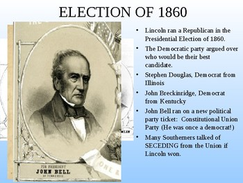 Causes of the Civil War Simulation Activity: Presidential Election of PowerPoint