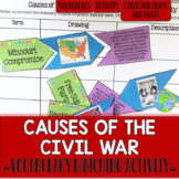 Causes of the Civil War Vocabulary Matching Activity and Recording Sheet