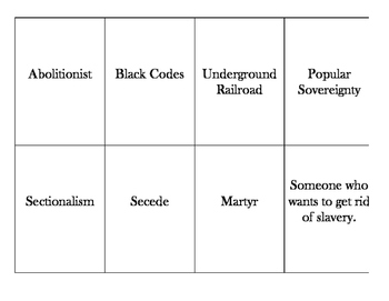 Causes of the Civil War Vocabulary Matching/Memory Game