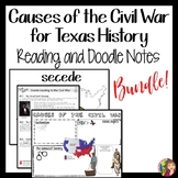 Causes of the Civil War for Texas History BUNDLE