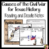 Causes of the Civil War in Texas DOODLE NOTES for Texas History 7th Grade