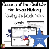 Causes of the Civil War in Texas DOODLE NOTES and Readings MODIFIED FOR ELL OR 4