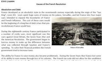 Article & Graphic Organizer: Causes of the French Revolution