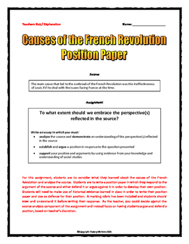 French Revolution Causes - Position Paper (Essay) and Rubric