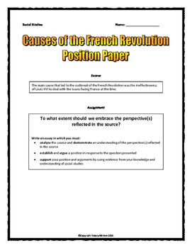 Sample Synthesis Essays French Revolution Causes  Position Paper Essay And Rubric By History  Matters Essay Papers Online also English Essay My Best Friend French Revolution Causes  Position Paper Essay And Rubric By  Argumentative Essay Thesis Examples