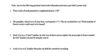 Causes of the French Revolution Primary and Secondary Source Assignment