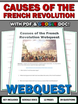 Causes of the French Revolution - Webquest with Key (Google Doc Included)