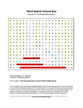 Causes of the French Revolution Word Search with Key (Grades 9-12)