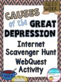 Causes of the Great Depression Internet Scavenger Hunt WebQuest Activity