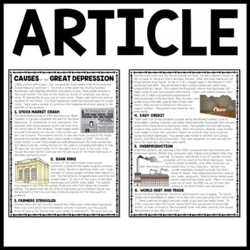 Causes of the Great Depression Reading Comprehension ...