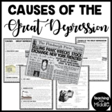 Causes of the Great Depression Reading Comprehension Worksheet and DBQ