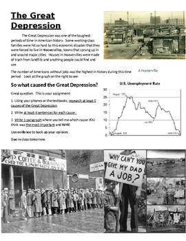 Causes of the Great Depression: Research and Writing Activity