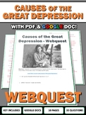 Causes of the Great Depression - Webquest with Key (Google Doc Included)