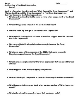 Causes of the Great Depression: reading, graphic organizer, discussion lesson