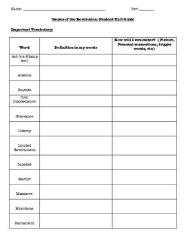 Causes of the Revolution Student Unit Guide (Print & Go)