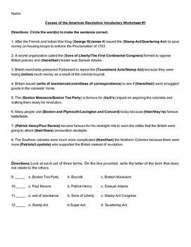 Causes of the Revolution vocabulary worksheet