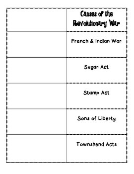 Causes of the Revolutionary War Foldable - Lexington, Bunker Hill, Yorktown