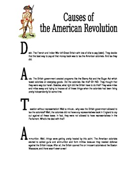 Causes of the Revolutionary War Handout