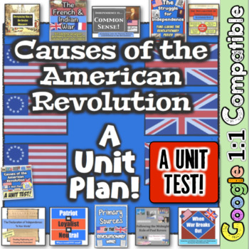 Revolutionary War Causes! Unit Test! 26 questions for the Revolution! Google 1:1
