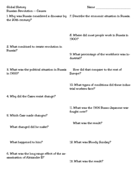 Causes of the Russian Revolution